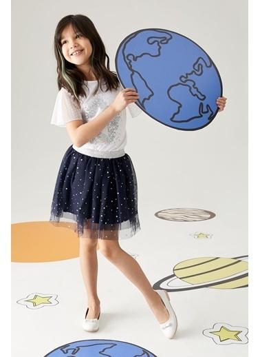 DeFacto Kız Çocuk Payetli Kolları Tül Detaylı Kısa Kol Tişört Beyaz